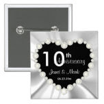 White Satin DIY Anniversary Wedding 2 Inch Square Button