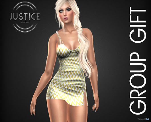 Scarlett Dress July 2018 Group Gift by JUSTICE | Teleport Hub - Second Life Freebies