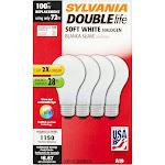 Sylvania Halogen Soft White Lamp A19-Medium Base 120V Light Bulb 72W Equivalent 100W Doublelife - 4 Pack