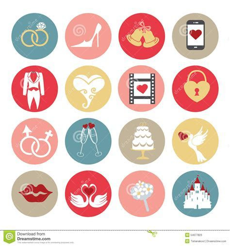 Cute Flat Wedding Icons Set For Web , Mobile Stock Vector
