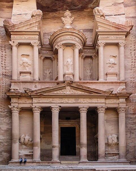 English: Facade of Al Khazneh, Petra, Jordan Français : Façade de El Khazneh (la Trésorerie) à Pétra en Jordanie