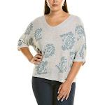 Nic+Zoe Womens Plus Shimmer Bloom Linen-Blend Sweater, 2X