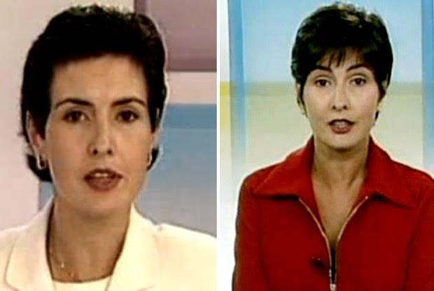 Em 1996, com o cabelo mais liso, Fátima era editora-chefe e apresentadora do Jornal Hoje (Foto: TV Globo)