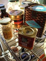 essentials on the kitchen shelves