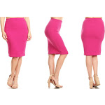 Women's Moa Collection High-Waist Solid Knee-Length Pencil Skirts Casual Magenta XXX-Large (18-20) Pink