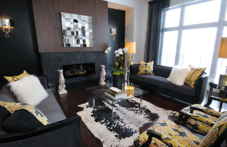 Yellow and Black Living Room - Contemporary - living room