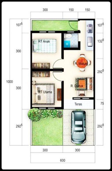 Gambar Denah Rumah Minimalis Ukuran 6x10 Terbaru kecil