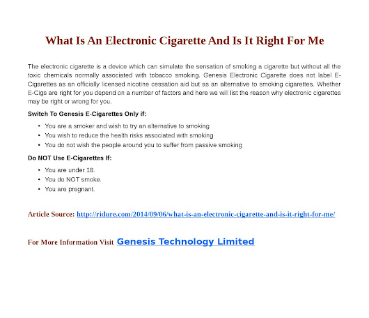 What is an electronic cigarette and is it right for me