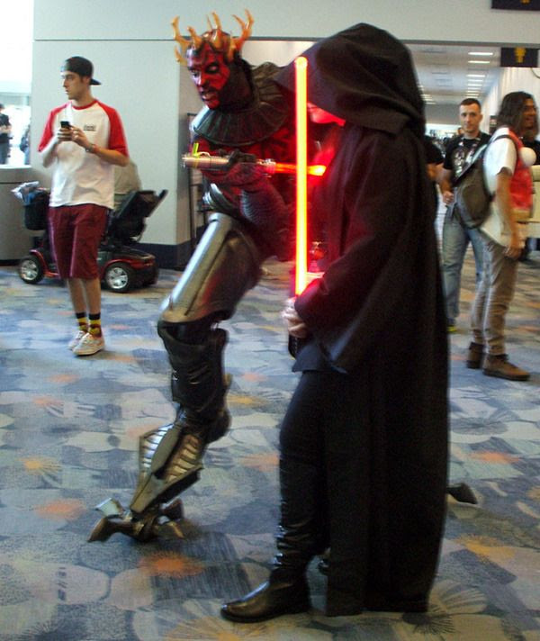 Post-PHANTOM MENACE Darth Maul poses with another Sith Lord at the Star Wars Celebration in Anaheim, California...on April 16, 2015.