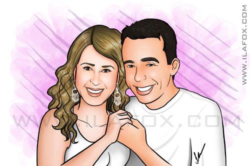 Retrato colorido casal, Cidinha, Alcirlei, by ila fox