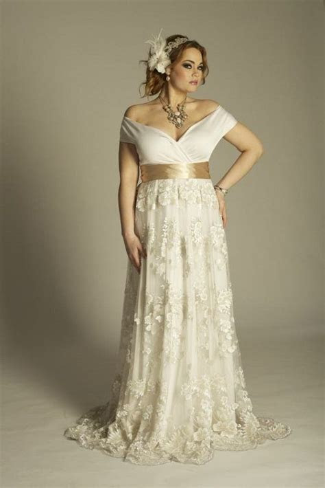 This is an off the Shoulder Plus Size Wedding Dresses with