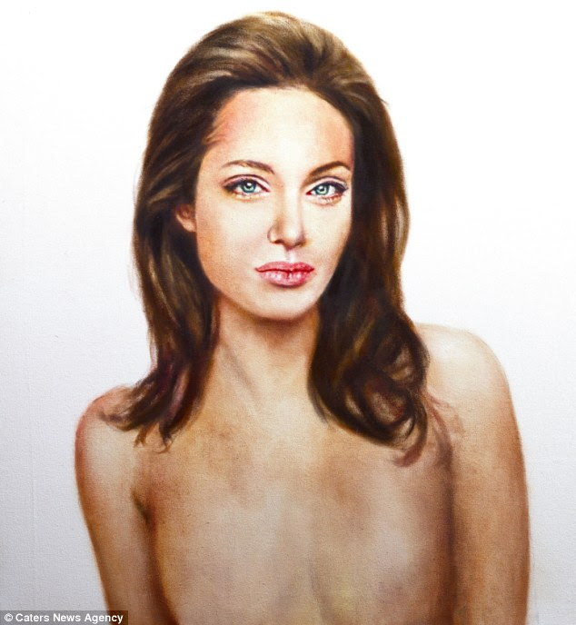 Inspiring: The painting portrays actress Angelina Jolie topless following her double mastectomy in February to lower her risk of breast cancer