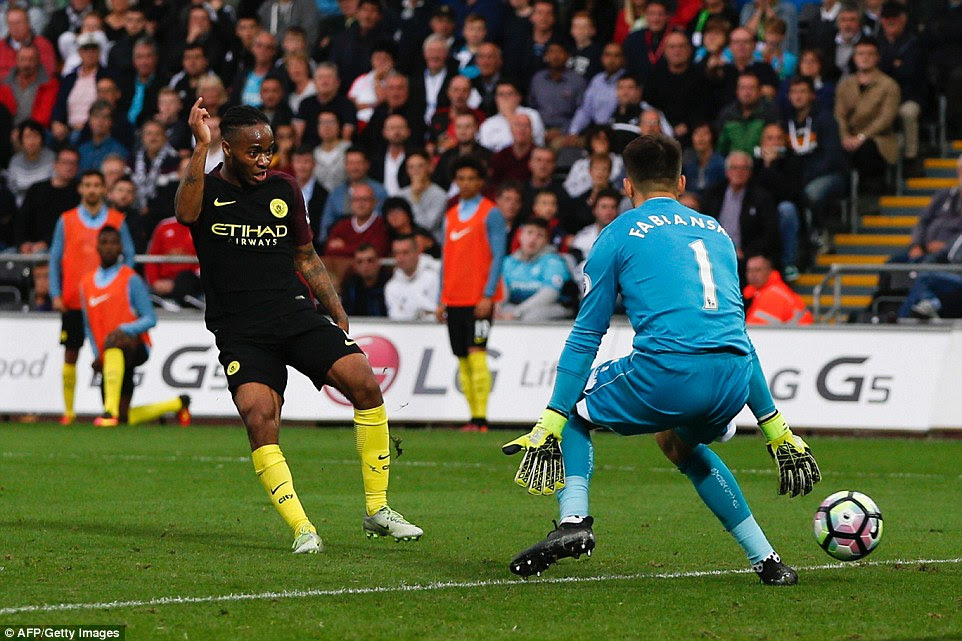 The goal at the Liberty Stadium was Sterling's fourth of the season after two against West Ham and one against Bournemouth