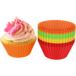 Silicone Baking Cups/Cupcake Liners by Chef Buddy (Set of 24) Silicone Multi-color N/A Label 24 cups Large