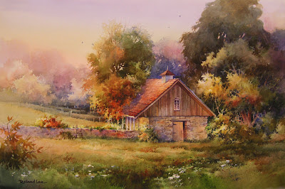 Watercolor painting of a stone barn in Europe