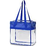 "Zodaca Stylish PVC Transparent Handbag Tote Carry Travel Bag (Size: 13""L x 6""W x 12""H) - Blue"