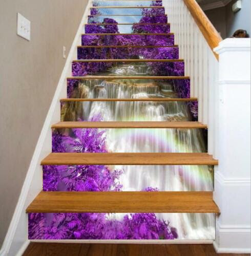 Dekoration 13 Stucke 3d Lila Blume Wasserfall Baum Selbstklebende Treppenhaus Aufkleber Woh Mobel Wohnen Autotest Md
