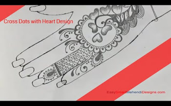 Cross dots with heart design | Pencil Mehndi Drawing and Shading