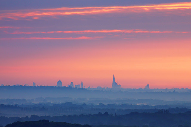 London Skyline from Hogs Back, Guildford