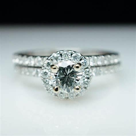 Simple .95cttw Solitaire Round Diamond Halo Engagement