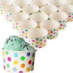 50-Count Paper Ice Cream Sundae Cups, Yogurt Dessert Bowls, Rainbow Polka Dots Party Supplies, 8-Ounces