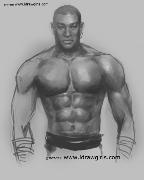 how to draw male upper body step 4