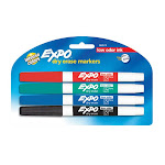Expo Low Odor Dry Erase Pen Style Markers, 4 Ea