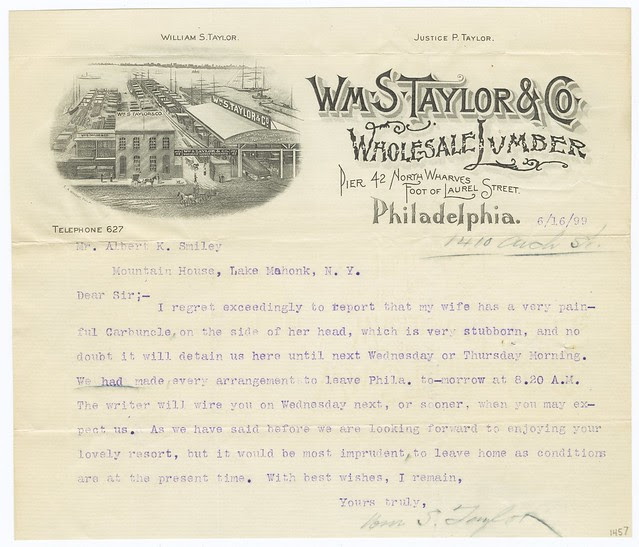 wharf lumber business letter with illustrated header region