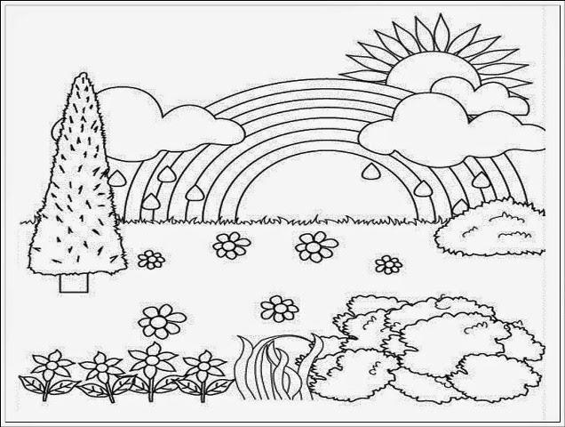 sketsa gambar pemandangan untuk anak tk