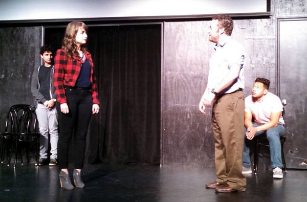 OTHER SPACE cast members Karan Soni, Milana Vayntrub, Neil Casey and Eugene Cordero conduct a comedy skit at the UCB Theater in Hollywood...on May 16, 2015.