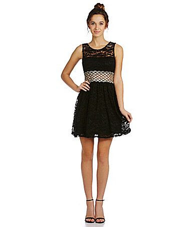 As U Wish IllusionWaist Lace Dress #Dillards
