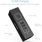 BESTEK 4-Port Desktop Charging Station, Charger with 1 Quick Charge 3.0 Port and 3 Auto USB Charge Ports Alongside 3.3ft Detachable Cable (Black)