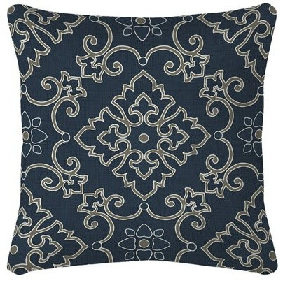 Garden Treasures Stencil Navy Blue/Texture Outdoor Accent Pillow