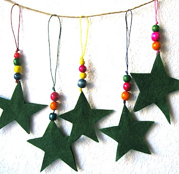 Petunia star and bead ornaments