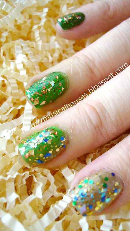 st patricks day nail art glitter gradient 1