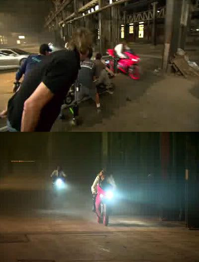 TOP PIC: Michael Bay films an Arcee bike in action.  BOTTOM PIC: Glimpses of two of the Arcee bikes.