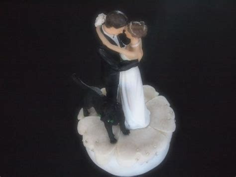 Cake Topper Wedding Ivory Bride Groom Black Lab Dog choose