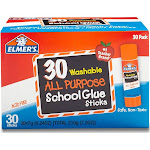 Elmer's Glue Stick Classroom Pack, Clear - 30 count, 0.24 oz sticks