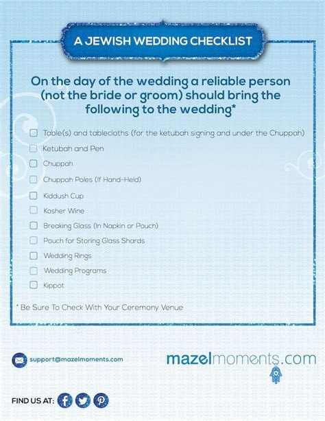 Jewish Wedding Ceremony Checklist (Jewish Weddings Guide