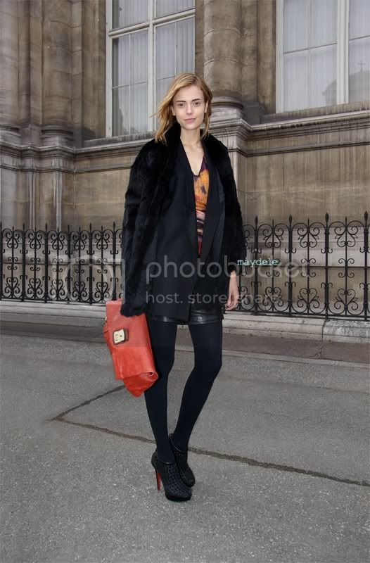 Martha Streck wearing Christian Louboutin Coussin shoes and carrying a Marc by Marc Jacobs clutch