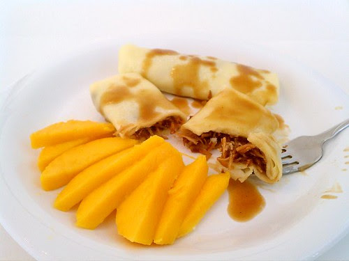 Crepes with Toasted Coconut and Caramel Sauce