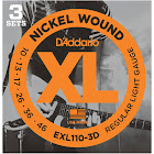 D'Addario EXL110-3D Nickel Wound Electric Guitar Strings, Regular Light 10-46 - 3 sets