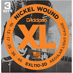 D'Addario EXL110-3D Nickel Wound Electric Guitar Strings, Regular Light 10-46 - 3 sets