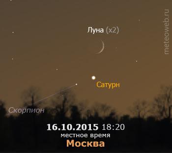 Растущая Луна и Сатурн на вечернем небе Москвы 16 октября 2015 г.