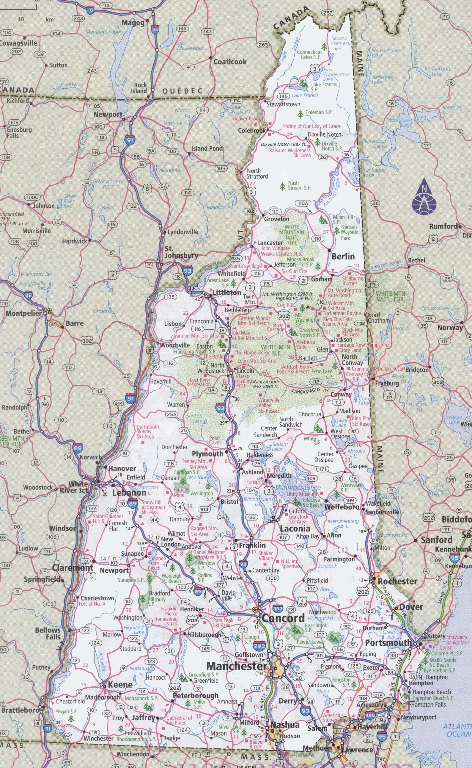 Nh Map Of Towns,  Ef Bb Bfclick To See Large  Ef Bb Bf New Hampshire Road Map, Nh Map Of Towns