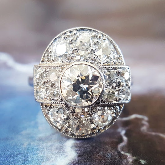Art Deco Engagement Ring  Diamond Engagement Ring  by TheIdolsEye