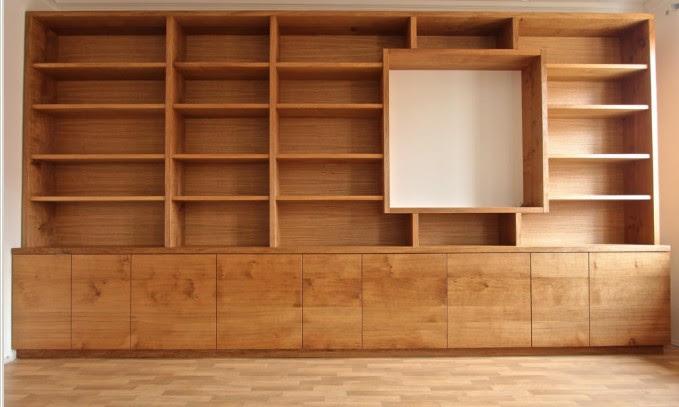 librerie in legno su misura vano tv lugano