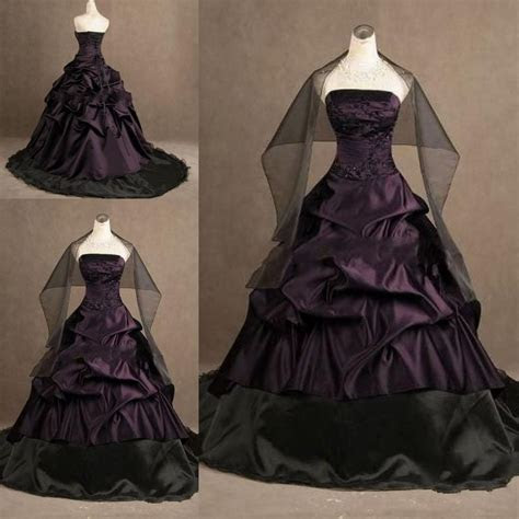 custom gothic ball gown purple  black  size wedding