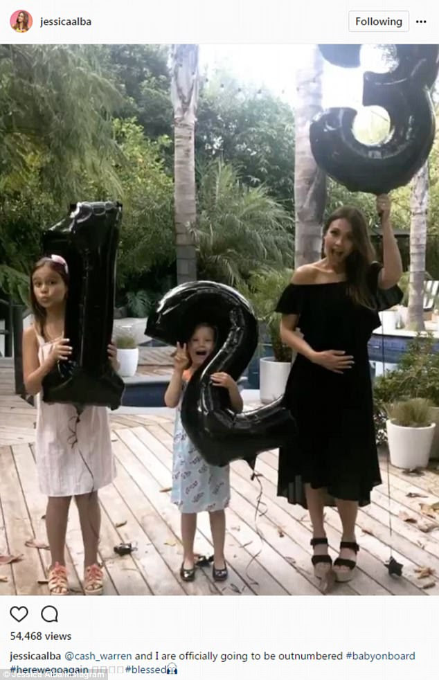 Big news: Jessica Alba took to Instagram on Monday to reveal that she is expecting another child with her 38-year-old film producer husband Cash Warren
