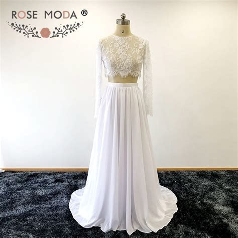 Rose Moda Long Sleeves Crop Lace Top Two Piece Wedding